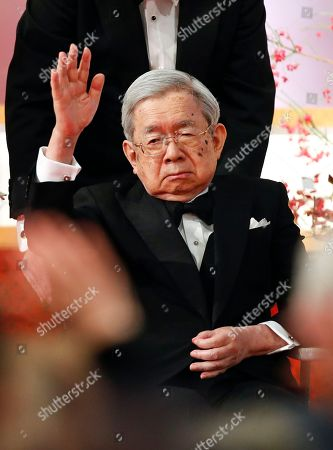 Japanese Masahito, Prince Hitachi waves towards guests and laureates as he leaves the 30th Praemium Imperiale Awards Ceremony in Tokyo, Japan, 23 October 2018. The Praemium Imperiale is a global arts prize awarded annually by the Japan Art Association. Five laureates are nominated in the fields of Painting, Sculpture, Architecture, Music and Theater/Film.