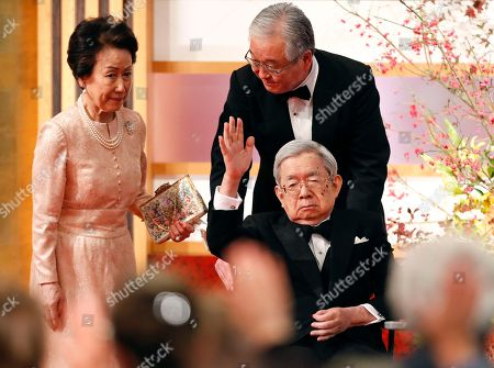 Japanese Masahito, Prince Hitachi (front-R) waves towards guests and laureates as he leaves with Hanako, Princess Hitachi (L) the 30th Praemium Imperiale Awards Ceremony in Tokyo, Japan, 23 October 2018. The Praemium Imperiale is a global arts prize awarded annually by the Japan Art Association. Five laureates are nominated in the fields of Painting, Sculpture, Architecture, Music and Theater/Film.