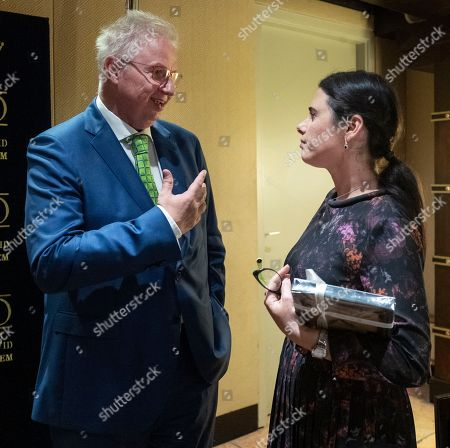 Hungarian Minister of Justice Laslo Trocsanyi (L) and his Israeli counterpart Ayelet Shaked (L) meet in a Jerusalem hotel after a bilateral meeting and a lunch, 23 October 2018.