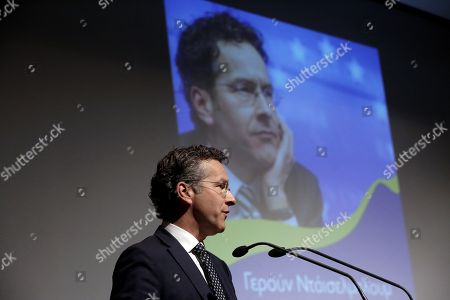 Stock Picture of Dutch former Eurogroup chief Jeroen Dijsselbloem speaks during the presentation of the Greek edition of his book titled 'The Euro Crisis' in Athens Greece, 23 October 2018.
