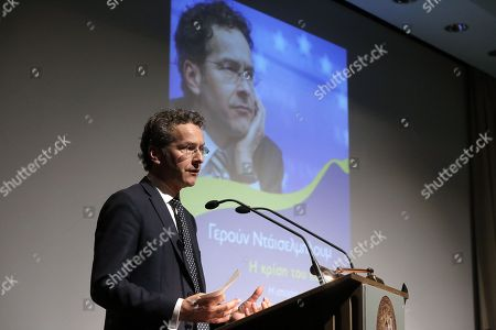 Dutch former Eurogroup chief Jeroen Dijsselbloem speaks during the presentation of the Greek edition of his book titled 'The Euro Crisis' in Athens Greece, 23 October 2018.