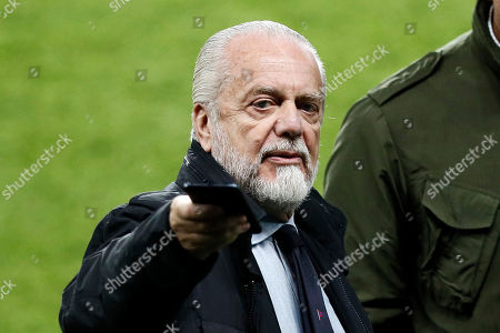 SSC Napoli president Aurelio De Laurentiis attends his team's training session at the Parc des Princes Stadium in Paris, France, 23 October 2018. SSC Napoli will face the PSG in their UEFA Champions League on 24 October 2018.