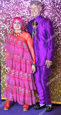 Zandra Rhodes (L) and artist Andrew Logan attend the world premiere of 'Bohemian Rhapsody' in London, Britain, 23 October 2018. The movie opens across UK theaters on 24 October.