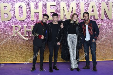 Agoney Hernandez, Jaime Lorente Lopez, Brisa Fenoy and Maxi Iglesias attend the world premiere of 'Bohemian Rhapsody' in London, Britain, 23 October 2018. The movie opens across UK theaters on 24 October.