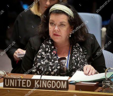 United Nations U.K. Ambassador Karen Pierce address a meeting of the United Nations Security Council on Yemen, at U.N. headquarters