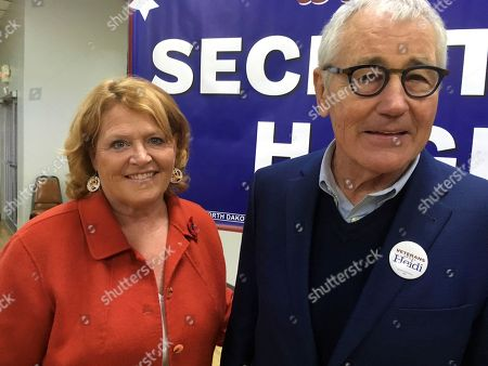 Heidi Heitkamp, Chuck Hagel. North Dakota Democratic Sen. Heidi Heitkamp and former Republican senator and Defense Secretary Chuck Hagel pose for a photo on in Bismarck, North Dakota. Hagel is campaigning across the state for Heitkamp, who is viewed as one of the most vulnerable candidates among red-state Democrats in the Senate