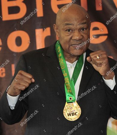US former boxer George Foreman poses after a press conference, in Mexico City, Mexico, 23 October 2018. Foreman visited Mexico City to celebrate the 50th anniversary of the Olympic Games Mexico 1968.