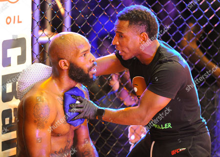 MMA fighter, Terry Johnson (left), in the corner during V3 FIGHTS 70 at the Fitz Casino in Tunica, MS. Johnson defeated Purifoy by unanimous decision