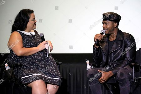 """Jenelle Riley, Stephan James. Jenelle Riley and Stephan James seen at the Annapurna Pictures' """"If Beale Street Could Talk"""" screening at ArcLight Hollywood, in Los Angeles"""