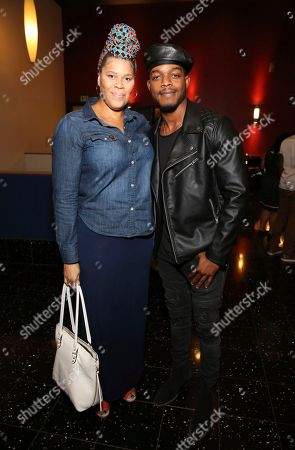 """Tracy Byrd, Stephan James. Tracy Twinkie Byrd and Stephan James seen at the Annapurna Pictures' """"If Beale Street Could Talk"""" screening at ArcLight Hollywood, in Los Angeles"""