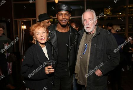"""Caroline Ducrocq, Stephan James, Howard Hesseman. Caroline Ducrocq, Stephan James and Howard Hesseman seen at the Annapurna Pictures' """"If Beale Street Could Talk"""" screening at ArcLight Hollywood, in Los Angeles"""