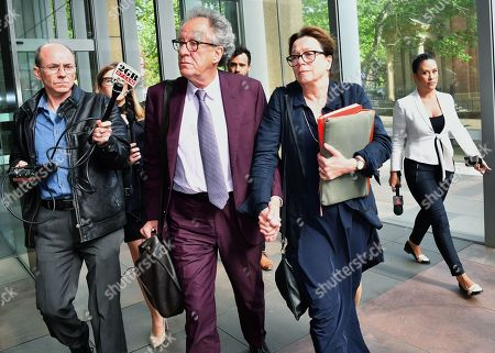 Stock Photo of Australian actor Geoffrey Rush (C-L) and his wife Jane Menelaus (C-R) leave the Federal Court in Sydney, Australia, 24 October 2018. Australian actor Geoffrey Rush is suing Nationwide News for defamation.