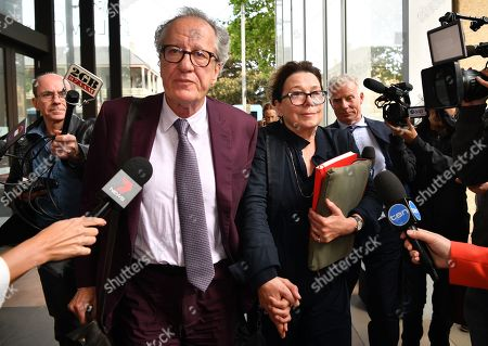 Stock Picture of Australian actor Geoffrey Rush (C-L) and his wife Jane Menelaus (C-R) leave the Federal Court in Sydney, Australia, 24 October 2018. Australian actor Geoffrey Rush is suing Nationwide News for defamation.