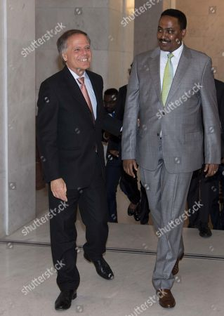 Italian Minister of Foreign Affairs and International Cooperation Enzo Moavero Milanesi receives Ethiopian counterpart Workneh Gebeyehu during the Italy Africa Conference at Farnesina Palace in Rome, Italy, 24 October 2018.
