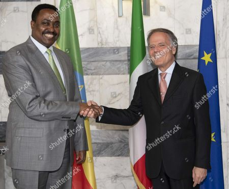 Editorial image of Italy Africa Conference - Moavero Milanesi receives Gebeyehu, Roma - 24 Oct 2018