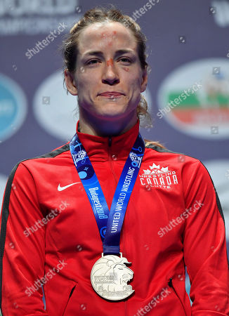 Silver medalist Danielle Suzanne Lappage of Canada reacts during the award ceremony of the women's 65kg category of the Wrestling World Championships in Budapest, Hungary, 24 October 2018.