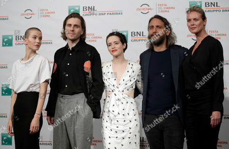 "From left, Sylvia Hoeks, Sverrir Gudnason, Claire Foy, Fede Alvarez and Synnove Macody Lund pose during the photo call of the movie ""The Girl in the Spider's Web"", at the 13th edition of the Rome Film Fest"