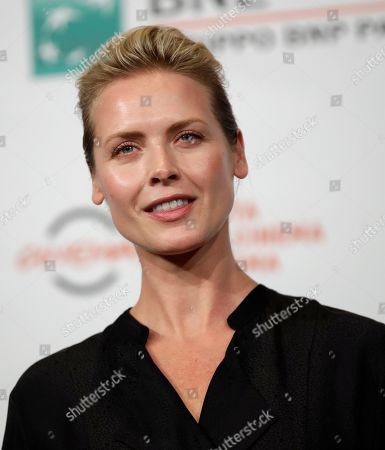 """Actress Synnove Macody Lund poses during the photo call of the movie """"The Girl in the Spider's Web"""", at the 13th edition of the Rome Film Fest"""