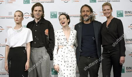 Sylvia Hoeks, Swedish actor Sverrir Gudnason, British actress Claire Foy, Uruguayan director Fede Alvarez and Norwegian actress Synnove Macody Lund pose during the photocall for the movie 'The Girl in the Spider's Web' at the 13th annual Rome Film Festival, in Rome, Italy, 24 October 2018. The film festival runs from 18 to 28 October.