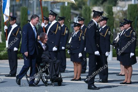 Wolfgang Schaeuble, Yuli Edelstein. German Bundestag President Wolfgang Schaeuble, seated, and Israeli Knesset Speaker Yuli Edelstein, review an honor guard during a welcoming ceremony to the Knesset, the Israeli parliament, in Jerusalem