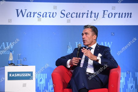 Former NATO Secretary General Anders Fogh Rasmussen speaks during the first day of the Warsaw Security Forum 2018 in Warsaw, Poland, 24 October 2018. The forum is organized by the Casimir Pulaski Foundation in cooperation with the National Security Bureau.