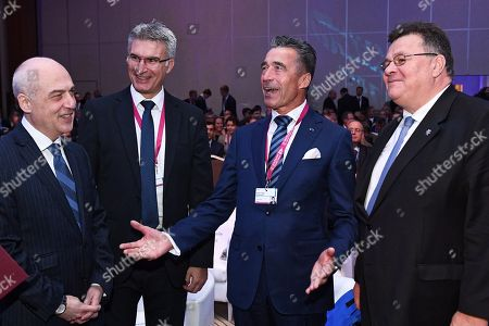 Former NATO Secretary General Anders Fogh Rasmussen (2-R), Georgian Minister of Foreign Affairs Gruzji David Zalkaliani (L), Minister of Foreign Affairs and Trade of Malta Carmelo Abela (2-L) and Lithuanian Minister of Foreign Affairs Linas Linkevicius (R) during the first day of the Warsaw Security Forum 2018 in Warsaw, Poland, 24 October 2018. The forum is organized by the Casimir Pulaski Foundation in cooperation with the National Security Bureau.