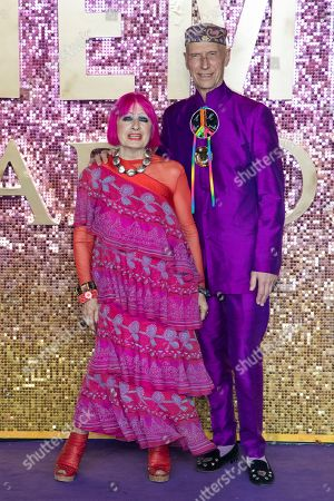 Zandra Rhodes, Andrew Logan. Zandra Rhodes and Andrew Logan pose for photographers upon arrival at the world premiere of the film 'Bohemian Rhapsody' in London