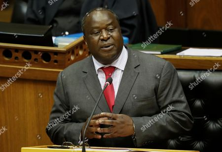 Stock Picture of South African newly appointed Finance Minister Tito Mboweni delivers the mid-term budget statement at parliament, Cape Town, South Africa, 24 October 2018. South African President Cyril Ramaphosa appointed Mboweni two weeks ago following Nhlanhla Nene's resignation.