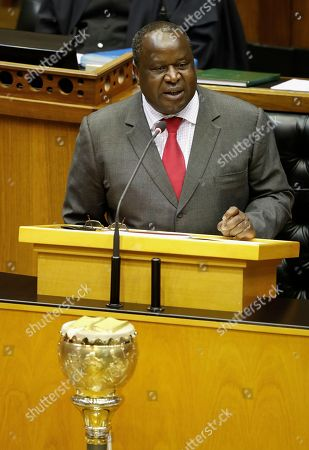 South African newly appointed Finance Minister Tito Mboweni delivers the mid-term budget statement at parliament, Cape Town, South Africa, 24 October 2018. South African President Cyril Ramaphosa appointed Mboweni two weeks ago following Nhlanhla Nene's resignation.