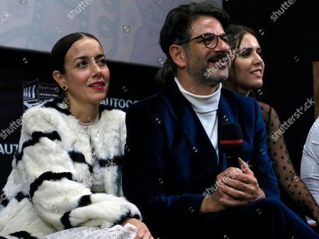 Actors Cecilia Suarez, left, and Miguel Rodarte participate in the presentation of their Mexican film Perfectos Desconocidos at the Morelia Film Festival in Morelia, Mexico