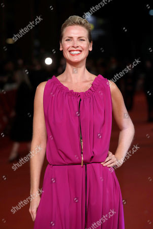 """Actress Synnove Macody Lund poses during the red carpet of the movie """"The Girl in the Spider's Web"""", at the 13th edition of the Rome Film Fest"""