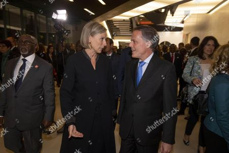 Italian Foreign Minister Enzo Moavero Milanesi (R) with President of Maxxi Museum, Giovanna Melandri (L), during the Italy-Africa Ministerial Conference, at the Maxxi Museum in Rome, Italy, 24 October 2018. The conference will gather over 40 delegations of African countries, the leaders of the African Union and senior representatives of the main International Organizations of the United Nations and Regional System.