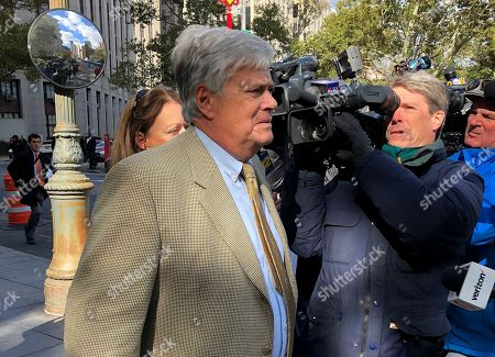 Former New York state Senate leader Dean Skelos, left, leaves court, in New York. Skelos was sentenced to four years and three months in prison after his conviction on public corruption charges. U.S. District Judge Kimba M. Wood announced the penalty for the longtime Republican powerbroker, citing his health challenges at age 70 as reason to reduce his sentence from the five years she gave him at a previous sentencing