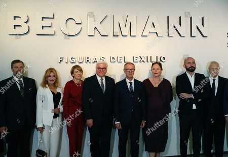 German President Frank-Walter Steinmeier (4-L), Spanish Sports and Culture Minister Jose Guirao (4-R), Meyen Beckmann, granddaughter of the artist (3-R) and Carmen Cervera, baronesa Thyssen (2.L) pose during the inauguration of the 'Beckmann. Exile figures' exhibition at Thyssen-Bornemisza National Museum in Madrid, Spain, 24 October 2018. Steinmeier is on a two-day official visit to the country.