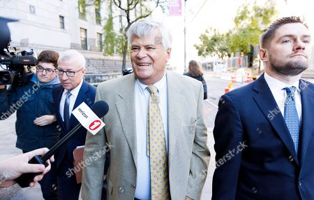 Stock Picture of Former New York state Senate Majority Leader Dean Skelos (C) arrives for a sentencing hearing on public corruption charges at the Manhattan federal court house in New York, New York, USA, 24 October 2018. Skelos was sentenced to four years and three months in prison after being convicted in July on federal corruption charges which included soliciting bribes and defrauding the public.