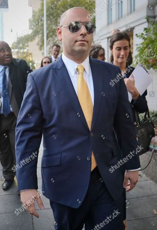Adam Skelos, son of former New York state Senate leader Dean Skelos, leaves court after sentencing, in New York. Skelos was convicted in July on charges of extortion, wire fraud and bribery