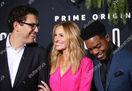 """Julia Roberts and husband Daniel Moder Cast member Stephan James Cast member Shea Whigham Cast member Jeremy Allen White Cast member Dermot Mulroney Director and Executive Producer Sam Esmail Co-Creators and Executive Producers Eli Horowitz and Micah Bloomberg arrives at the Los Angeles premiere of """"Homecoming"""", in Los Angeles, CA"""