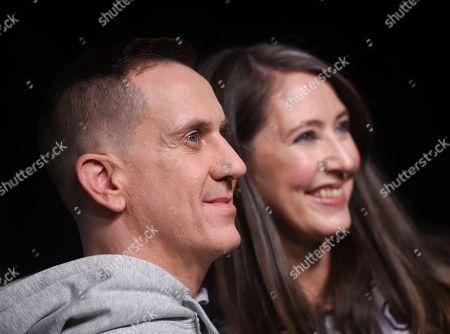 Stock Photo of Jeremy Scott, Ann-Sofie Johansson. Moschino creative director Jeremy Scott, left, and H&M designer Ann-Sofie Johansson attend the Moschino x H&M fashion show at Pier 36, in New York