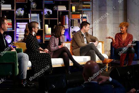 Stock Picture of From left, panelists Brian Kelly, Marcela Valladolid, Zooey Deschanel and Zach Houghton join moderator Noelle Scaggs during a discussion on purposeful travel at a launch event for Capital One's Purpose Project, in New York