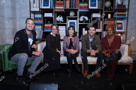 From left, Brian Kelly, Marcela Valladolid, Zooey Deschanel, Zach Houghton, and moderator Noelle Scaggs share their travel stories and experiences at a launch event of Capital One's Purpose Project on in New York