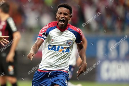 Ramires of Bahia celebrates a goal against Atletico Paranaense in a quarterfinals match of the Copa Sudamericana between Bahia and Atletico Paranaense at the Fonte Nova stadium in Salvador, Brazil, 24 October 2018.