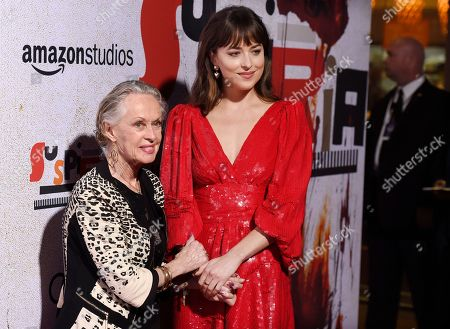 "Dakota Johnson, Tippi Hedren. Dakota Johnson, right, a cast member in ""Suspiria,"" poses with her grandmother, actress Tippi Hedren, at the premiere of the film at the ArcLight Hollywood, in Los Angeles"