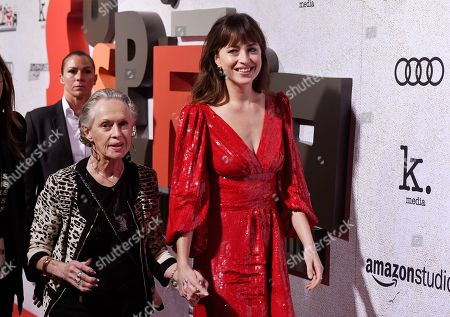 """Dakota Johnson, Tippi Hedren. Dakota Johnson, right, a cast member in """"Suspiria,"""" arrives with her grandmother, actress Tippi Hedren, at the premiere of the film at the ArcLight Hollywood, in Los Angeles"""