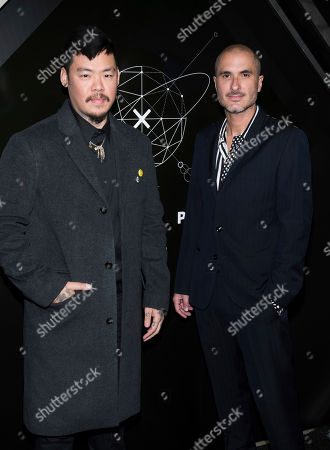 Stock Photo of Doctor Woo, Zane Lowe. Doctor Woo, left, and Zane Lowe attend the 10th anniversary Pencils of Promise gala at the Duggal Greenhouse, in New York