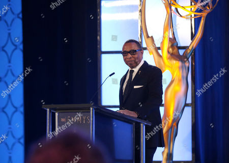 Stock Picture of Hayma Washington, Chairman and CEO of the Television Academy, speaks at the 70th Engineering Emmy Awards on in Los Angeles