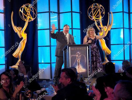 Barry Zegel, Kirsten Vangsness. Barry Zegel, Engineering Emmy Awards Committee Chair, left, and Kirsten Vangsness are seen on stage at the 70th Engineering Emmy Awards on in Los Angeles