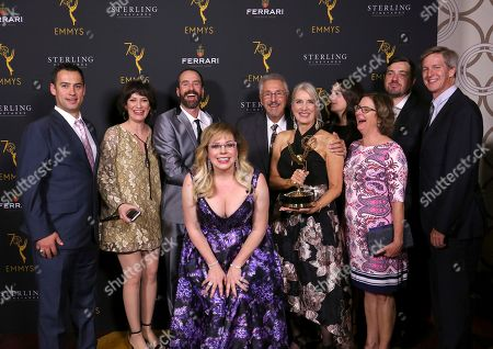 Kirsten Vangsness, Wendy Lynn Aylsworth. Kirsten Vangsness, center, and Wendy Lynn Aylsworth, recipient of The Charles F. Jenkins Lifetime Achievement Award, poses with her family at the 70th Engineering Emmy Awards on in Los Angeles