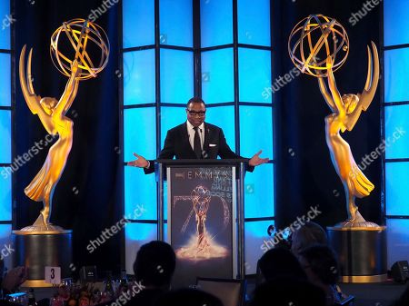 Stock Image of Hayma Washington, Chairman and CEO of the Television Academy, speaks at 70th Engineering Emmy Awards on in Los Angeles