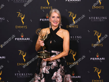 Wendy Lynn Aylsworth, CEO of Walden Pond and President of UltraViolet, poses with The Charles F. Jenkins Lifetime Achievement Award at the 70th Engineering Emmy Awards on in Los Angeles