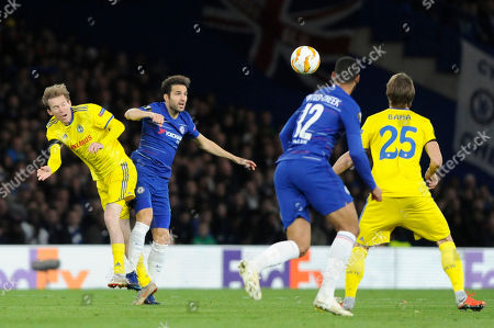Cesc Fabregas of Chelsea and Alexander Hleb of FC BATE Borisov in action during the UEFA Europa League group stage match between Chelsea and FC BATE Borisov at Stamford Bridge in London, UK - 4th October 2018